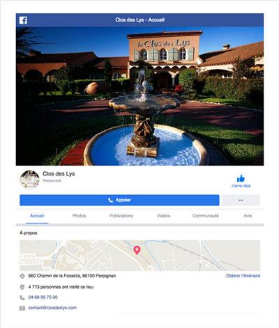 Consultez le Facebook du restaurant le Clos des Lys